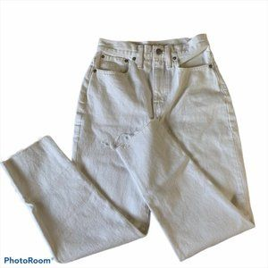 Madewell Straight Leg Jean   The Mom Jean in White